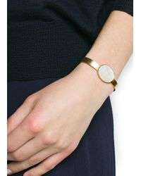 Mango - White Touch Oval Stone Metal Cuff - Lyst