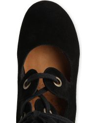Chie Mihara - Black Amarna Suede Laceup Courts - Lyst