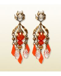 Gucci | Red Earrings with Coral Pendants | Lyst