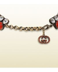 Gucci - Orange Necklace with Coral Flowers Motif - Lyst