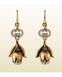 Gucci | Metallic Earrings in Metal with Strass | Lyst