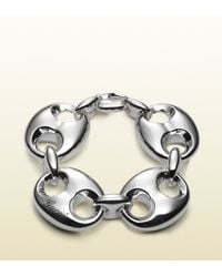 Gucci | Metallic Bracelet In Sterling Silver With Large Marina Chain Motif | Lyst