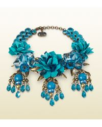 Gucci | Blue Necklace with Turquoise Flowers Motif | Lyst