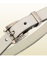 Gucci - Bracelet in White Leather with Palladium Buckle for Men - Lyst