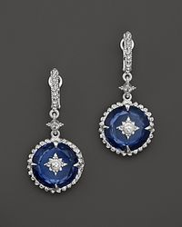 Judith Ripka - Metallic Sterling Silver Laguna Drop Earrings with White Sapphire and Labcreated Blue Corundum - Lyst