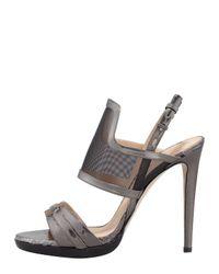 Lyst Reed Krakoff Solar Metallic Snake Mesh Sandal In Gray