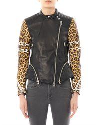 3.1 Phillip Lim - Multicolor Leopardprint Sleeve Leather Biker Jacket - Lyst