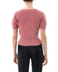 Dolce & Gabbana - Pink Cashmere Perforated Knit Sweater - Lyst