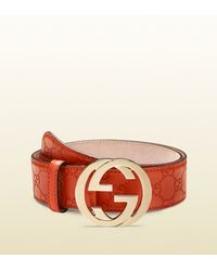 64c53d507 Gucci Guccissima Belt with Interlocking G Buckle in Orange - Lyst