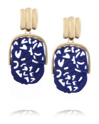 Kenneth Jay Lane - Blue Goldplated Lapis Clip Earrings - Lyst
