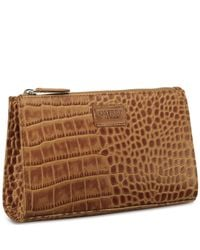 aa1d7c9ac6ac Osprey London The Large Belle Polished Croc Leather Make Up Bag in ...