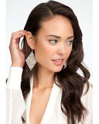 Bebe - Metallic Diamond Shape Crystal Earrings - Lyst