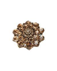 Oscar de la Renta - Metallic Crystal Flower Ring - Lyst