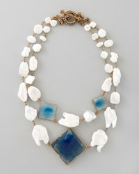 Stephen Dweck - White Pearl Blue Agate Necklace - Lyst