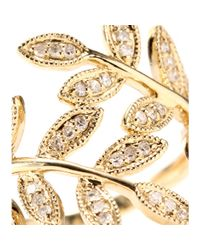 Jacquie Aiche - 14kt Yellow Gold Wrap Leaves Ring with White Pavé Diamonds - Lyst