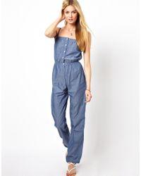 92bc2dc6b43 Lyst - Pepe Jeans Denim Onesie in Blue