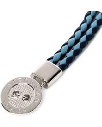 Tateossian - Blue Buttonplate Plaitedleather Bracelet for Men - Lyst