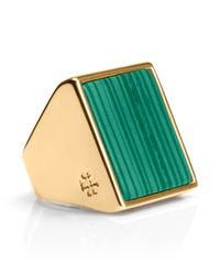 Tory Burch | Green Flat Stone Ring | Lyst