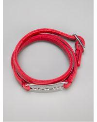 McQ - Red Leather Razor Bracelet - Lyst