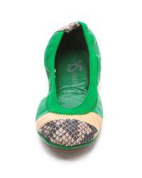 Yosi Samra - Green Horizontal Colorblock Ballet Flats - Lyst
