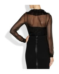 Alberta Ferretti | Black Ruffled Lace trimmed Silk chiffon Top | Lyst