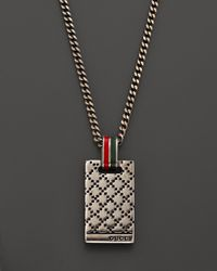 Gucci - Metallic Diamante Sterling Silver Pendant Necklace 195 for Men - Lyst