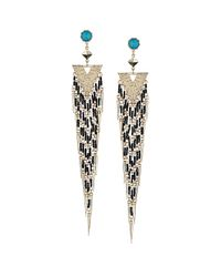 TOPSHOP - Metallic Stone Triangle Tassel Earrings - Lyst