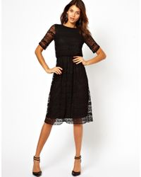7440326d9292 ASOS Midi Dress In Lace With Wrap Back in Black - Lyst
