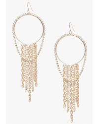 Bebe | Metallic Pave Fringe Hoop Earrings | Lyst