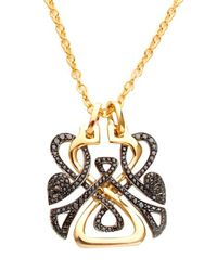 Biba | Metallic Gold and Black Diamond Logo Pendant | Lyst