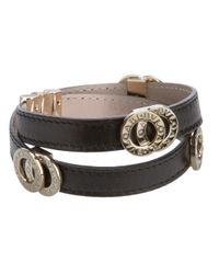 BVLGARI | Black Leather Strap Bracelet | Lyst
