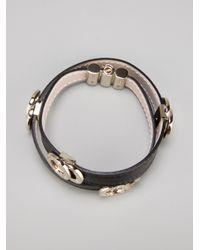 BVLGARI - Black Leather Strap Bracelet - Lyst