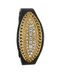 Dyrberg/Kern | Black Egeria Shiny Gold Crystal Leather Bracelet | Lyst