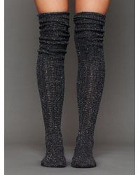 Free People | Gray Speckled Slouch Tall Sock | Lyst