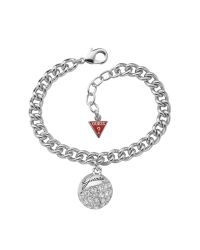 Guess | Metallic Crystal Pave Ball Pendant Bracelet | Lyst