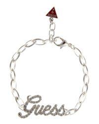 Guess | Metallic Logo Plate Bracelet | Lyst