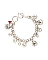 Guess - Metallic Rhodim Bauble Bracelet - Lyst