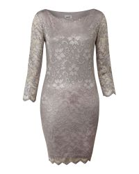John Zack | Gray Long Sleeve Metallic Lace Dress | Lyst