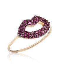 Kismet by Milka - Purple Rose Gold Ruby Lips Ring - Lyst
