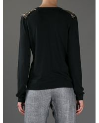 MICHAEL Michael Kors - Black Studded Zipup Cardigan - Lyst
