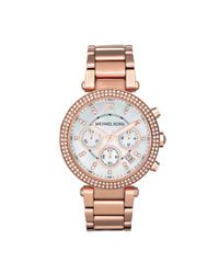 Michael Kors | Pink Midsize Rose Golden Stainless Steel Parker Chronograph Glitz Watch | Lyst