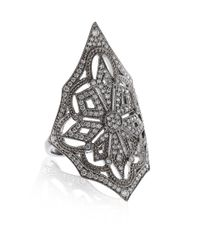 Stone | Metallic White Gold and Diamond Ornate Ring | Lyst