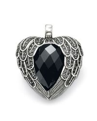 Thomas Sabo - Black Classic Large Feather Heart Pendant - Lyst