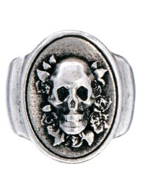 Nudie Jeans - Gray Oval Skull Ring for Men - Lyst