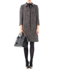 Dolce & Gabbana - Black Check Tweed Swing Coat - Lyst