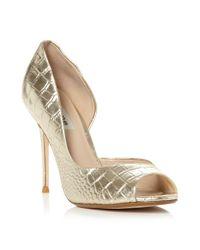 Dune | Deluxe Metallic Croc Dorsay Peeptoe Shoes | Lyst