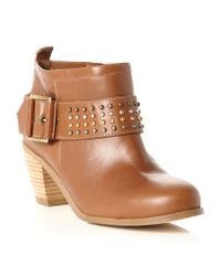 Dune | Brown Putty Studded Block Heel Boots | Lyst