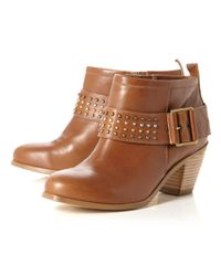 Dune - Brown Putty Studded Block Heel Boots - Lyst