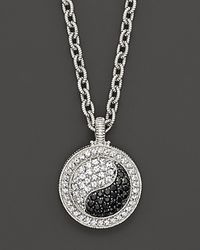 Judith Ripka - Metallic Sterling Silver Ying Yang Pendant Necklace with White and Black Sapphires 17 - Lyst
