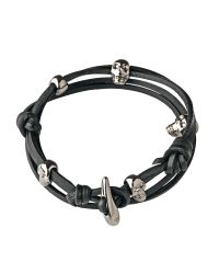 Links of London | Black Camden Skull Leather Bracelet | Lyst